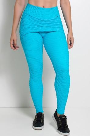 Calça Saia Tecido Bolha (Azul Celeste) | Ref: KS-F225-007