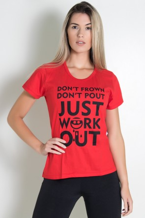 Camiseta Feminina Dont Frown Dont  Pout Just Work Out | Ref: KS-F229