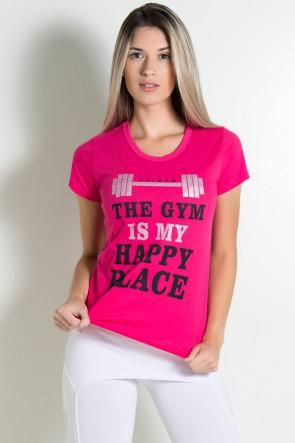 Camiseta Feminina (The Gym is my Happy Place) (Rosa Pink) | Ref: KS-F230-003
