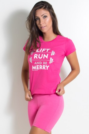 Camiseta Feminina Lift Run and be Merry (Rosa Pink) | KS-F236-001