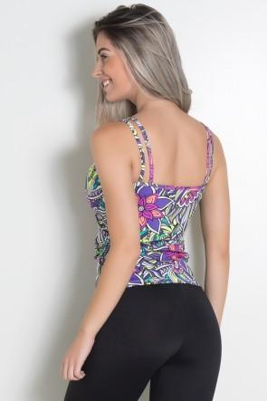 Camiseta Estampada Hanna (Tribal Colorido com Flor Roxa) | Ref: KS-F240-007