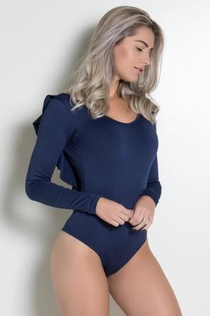 Body Liso Costa Aberta com Babado (Azul Marinho)   Ref: KS-F241-003