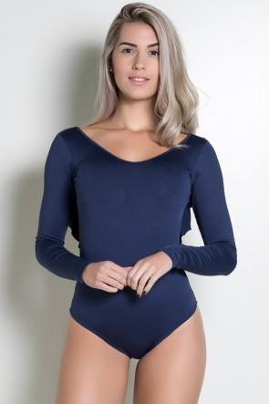 Body Liso Costa Aberta com Babado (Azul Marinho) | Ref: KS-F241-003