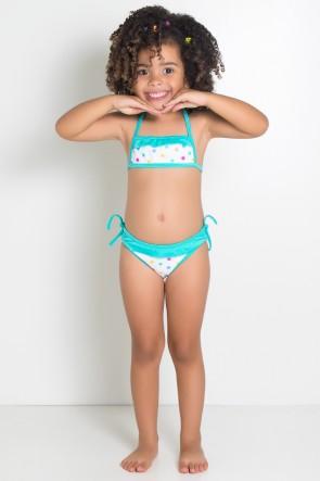 Biquini Estampado com Babado Infantil (Branco com Bolinhas Coloridas / Verde Esmeralda) | Ref: DVBQ26-005