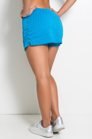 Short Saia Liz Tecido Bolha (Azul Celeste) | Ref: KS-F264-001