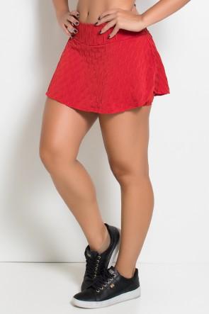Short Saia Isabelle Tecido Bolha (Vermelho) | Ref: KS-F265-010