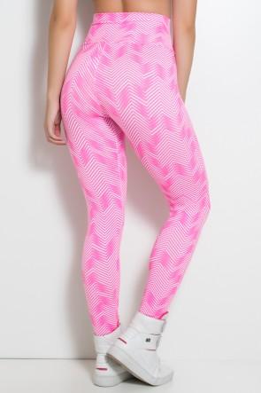 Legging Estampada Setas Brancas com Rosa Fluor | Ref: KS-F27-042