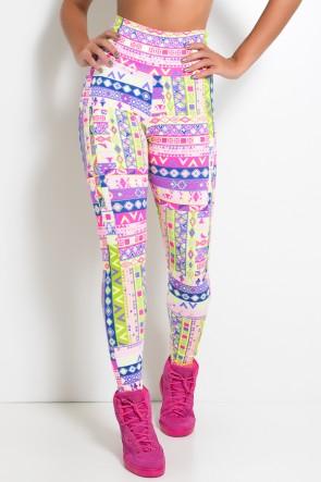 Legging Estampada Cós Alto (Mosaico Fluorescente) | Ref: KS-F27-122