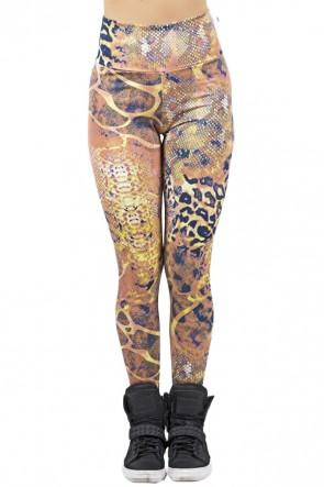 Legging Estampada Oncinha Preta com Escama Amarela e Verde | Ref: CA458