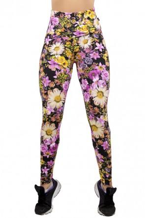 Legging Estampada Floral Lilás e Amarelo | Ref: CA293