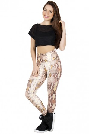Legging Estampada Cobra Bege