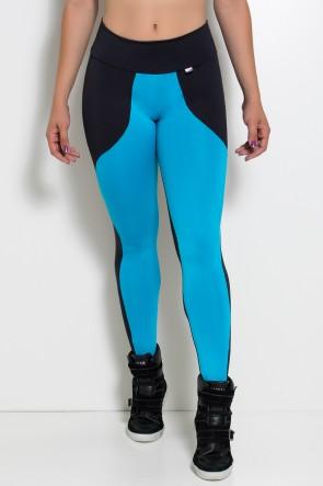 Calça Legging Duas Cores (Preto / Azul Celeste) | Ref: KS-F29-004
