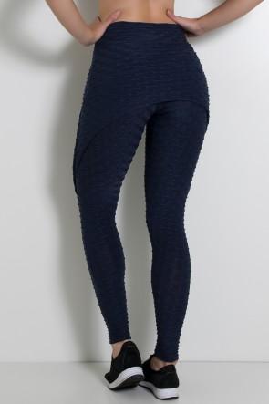 Calça Aranha Tecido Bolha (Azul Marinho) | Ref: F309-004