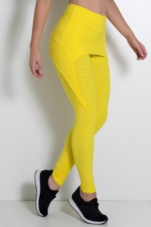 Calça Aranha Tecido Bolha (Amarelo) | Ref: KS-F309-008