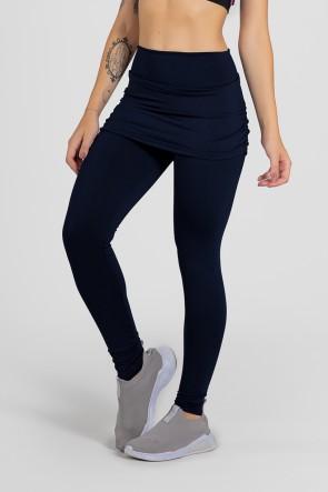 Calça Legging Lisa com Saia Franzida (Azul Marinho) | Ref: KS-F315-001
