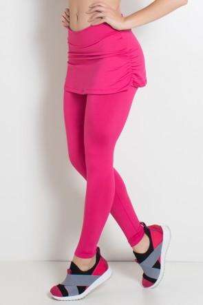 Calça Legging Lisa com Saia Franzida (Rosa Pink) | Ref: KS-F315-006