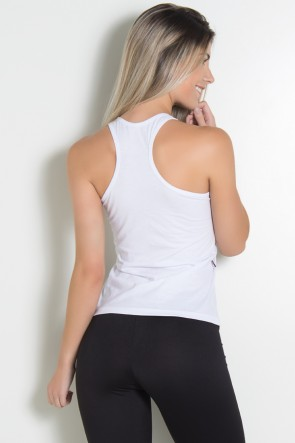 Camiseta de Malha Nadador (The gym is my happy place) (Branco) | Ref: KS-F318-002