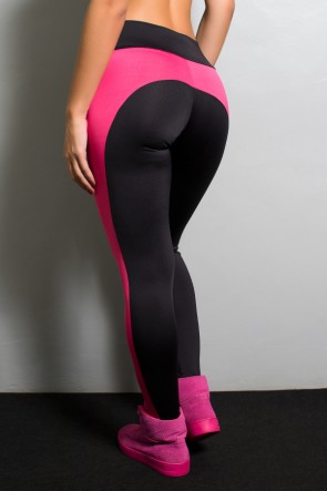 Calça Legging Duas Cores Suplex Excelente (Preto com Rosa Pink) | Ref: KS-F32-001