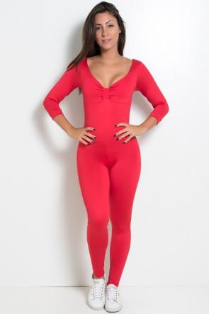 Macacão Laços Liso (Vermelho) | Ref: KS-F337-004