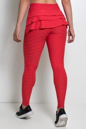 Calça Com Babado Tecido Bolha (Vermelho) | Ref:F348-004