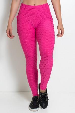 Calça Com Babado Tecido Bolha (Rosa Pink) | Ref:F348-006