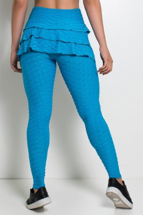 Calça Com Babado Tecido Bolha (Azul Celeste) | Ref: KS-F348-008