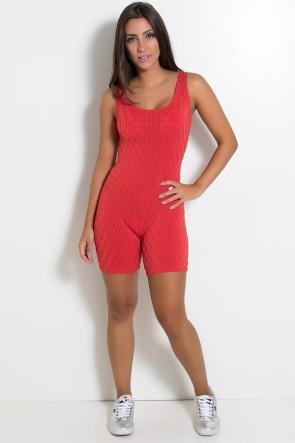 Macaquinho Angelica Tecido Bolha (Vermelho) | Ref: KS-F386-003