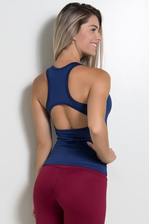 Camiseta Fitness Júlia Suplex (Azul Marinho) | Ref: KS-F39-005