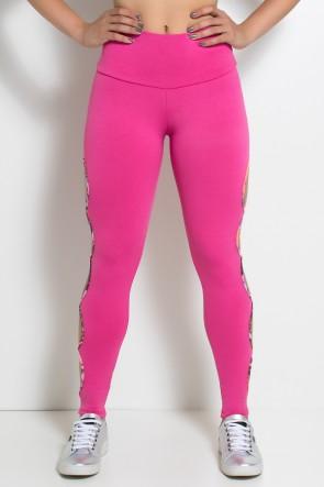 Legging Gota Sabrina Lisa com Viés Estampado (Rosa Pink) | Ref: KS-F390-005