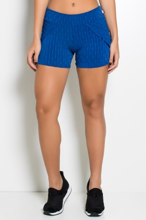 Short Saia Adriane Tecido Bolha (Azul Royal) | Ref: KS-F392-003