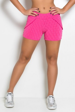 Short Saia Adriane Tecido Bolha (Rosa Pink) | Ref: KS-F392-004