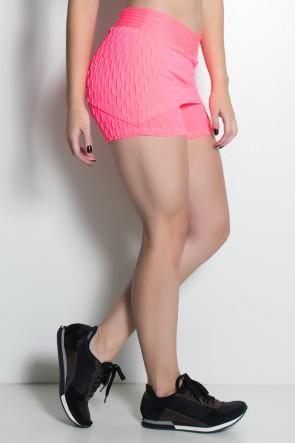 Short Saia Paola Bolha Fluor (Rosa Fluor) | Ref: KS-F417-001