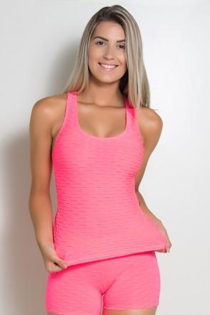 Camiseta Adriane Tecido Bolha Fluor (Rosa Fluor) | Ref: KS-F444-001