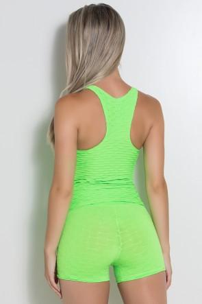 Camiseta Adriane Tecido Bolha Fluor (Verde Limão Fluor) | Ref: KS-F444-003