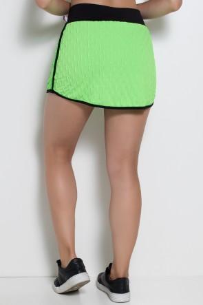 Short Saia Paris Tecido Bolha Fluor com Detalhe Liso (Verde Limão Fluor) | Ref: KS-F450-002
