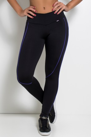 Legging Khloe com Vivo (Preto / Azul Royal) | Ref: KS-F463-002