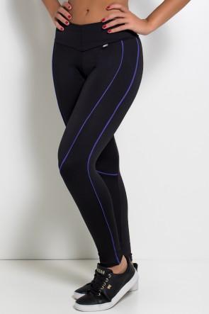 Legging Khloe com Vivo (Preto / Azul Royal) | Ref: F463-002
