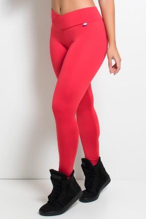 Legging Rafaela Lisa com Cós Transpassado (Vermelho) | Ref: KS-F465-001