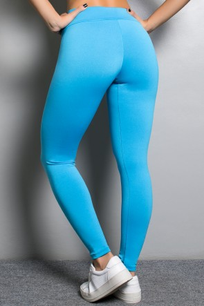 Legging Rafaela Lisa com Cós Transpassado (Azul Celeste) | Ref: KS-F465-002