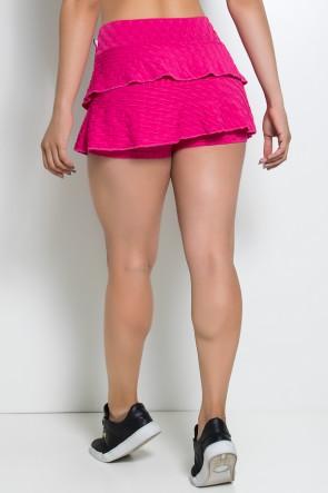 Short Saia Priscila Tecido Bolha (Rosa Pink) | Ref: KS-F479-003