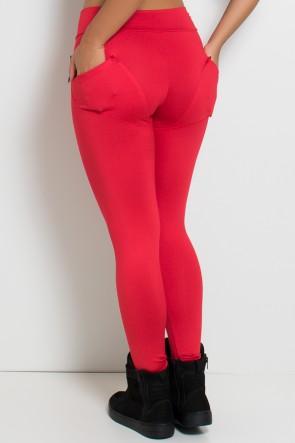 Calça Levanta Bumbum com Bolso (Vermelho) | Ref: KS-F488-001