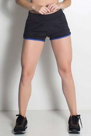 Short de Corrida Run (Preto / Azul Royal) | Ref: KS-F489-002