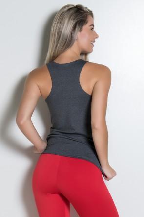 Camiseta Mescla com Detalhe Liso (Vermelho) | Ref: KS-F494-006
