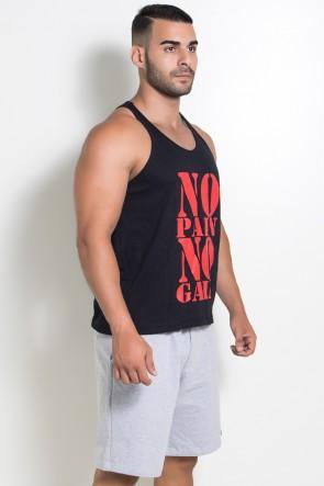 Camiseta Regata (No Pain No Gain) (Preto) | Ref: KS-F524-002