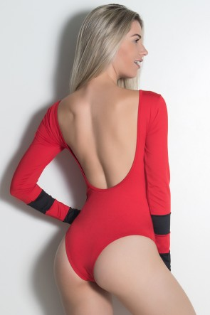 Body Ticiane Liso (Vermelho / Preto)   Ref: KS-F530-002