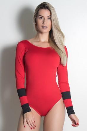 Body Ticiane Liso (Vermelho / Preto) | Ref: KS-F530-002