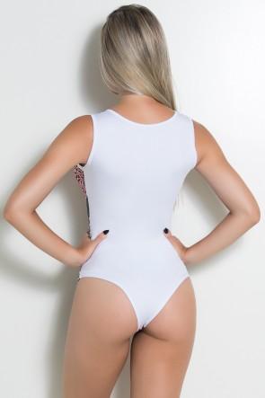 Body Estampado com Costa Lisa (Oncinha Cinza com Indígena Rosa / Branco) | Ref: KS-F590-003