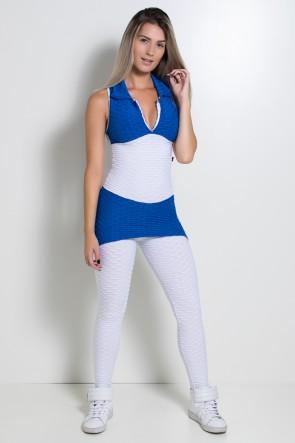 Macacão Tecido Bolha 2 Cores (Branco / Azul Royal)   Ref: KS-F598-001