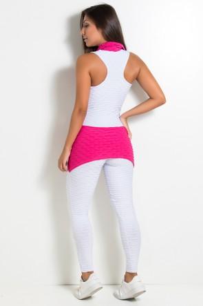 Macacão Tecido Bolha 2 Cores (Branco / Rosa Pink) | Ref: KS-F598-003