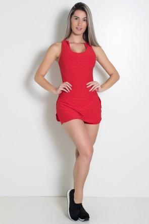 Macaquinho Saia Lily Tecido Bolha (Vermelho) | Ref: KS-F675-003